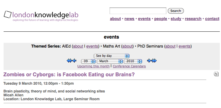 Upcoming talk @ the London Knowledge Lab