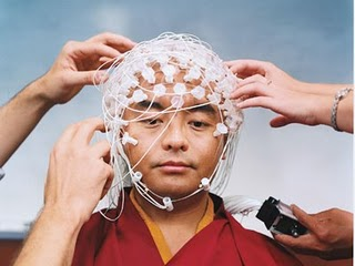 Tibetan Monk hooked up for meditation study