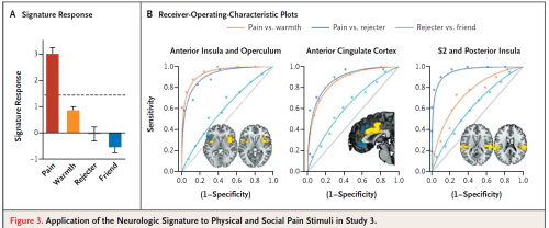 Figure from Wager et al demonstrating specificity of classifier for pain vs warmth and pain vs rejection. Note poor receiver operating curve (ROC) for 'social pain' (rejecter vs friend), although that contrast picks out similar regions of the 'pain matrix'.